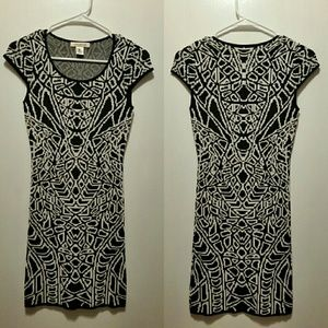 Black and white jacquard dress